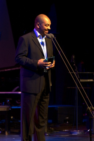 Accepting the BBC Radio 3 Jazz Award in 2002